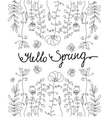 monochrome floral garden with butterfly with the words Hello spring on white background