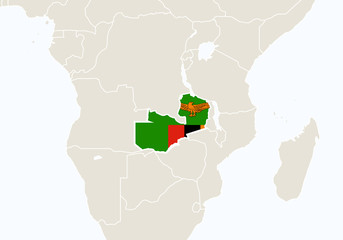 Africa with highlighted Zambia map.