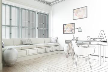Weißer Raum mit Schreibtisch (Zeichnung)