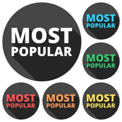 Most Popular icons set with long shadow