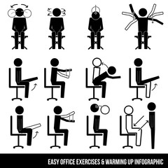 Easy office exercises & warming up infographic symbol vector sign icon pictogram
