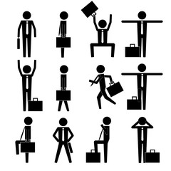 various basic business man move icon sign symbol vector