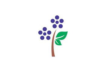 Plum tree vector illustration logo