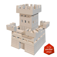 Fortress tower. Vector illustration. Low poly style.