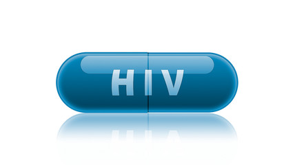 Single blue medicine capsule labeled HIV.