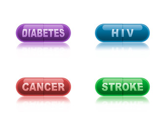 Four colored medicine capsules labeled diabetes, HIV, cancer and stroke.