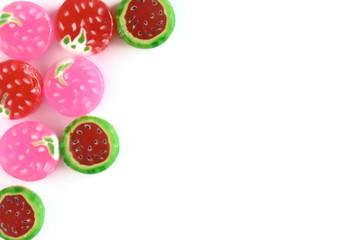 カラフルなフルーツキャンディー  白バック
