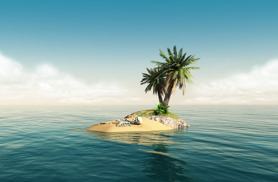 Small tropical island with skeleton