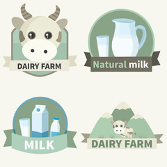 Set of vector emblems for design dairy products. Natural milk,milk,dairy farm
