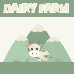 Dairy farm. Cute cow on a background of mountain meadow. Vector illustration