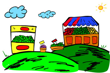 hand draw sketch of Fruit Store