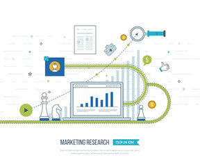 Market strategy analysis, online marketing research, business analytics and planning