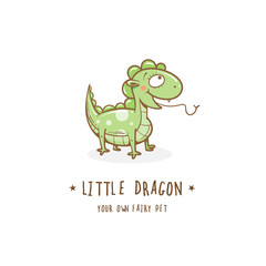Cartoon cute dragon  logo. Vector image.