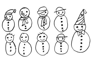 Sketchy Outline Snowmen