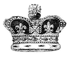 An engraved vintage illustration image portrait of the British crown of England, from a Victorian book dated 1847 that is no longer in copyright