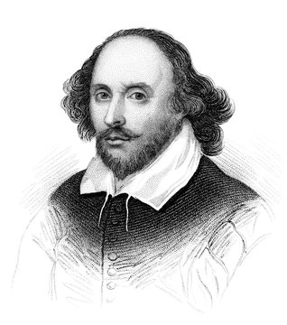 An engraved vintage illustration image portrait of the Elizabethan playwright William Shakespeare, from a Victorian book dated 1847 that is no longer in copyright