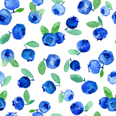 Watercolor seamless pattern with blue  blueberries. Can be used for wrapping paper, background of birthday, mother's day and any holidays.