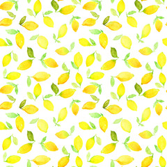 Watercolor seamless pattern with yellow lemons. Can be used for wrapping paper, background of birthday, mother's day and any holidays.