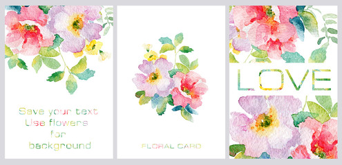 Set of postcards. Simple red watercolor flowers. Templates for your creativity. Spring and summer motifs.