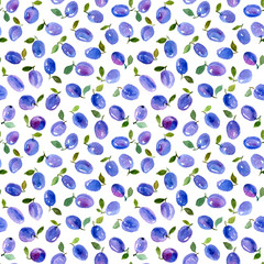 Watercolor seamless pattern with  blue plums.  Can be used for wrapping paper, background of birthday, mother's day and any holidays.