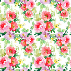 Watercolor seamless pattern with simple colorful flowers. Spring and summer motifs. Can be used for wrapping paper and any your design.