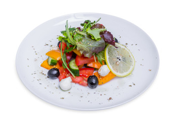 Fresh Greek salad, isolated with clipping path