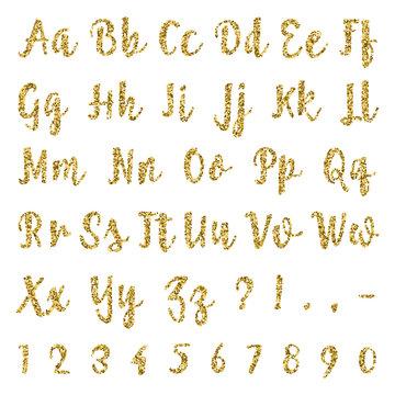 Gold alphabet isolated on white background.