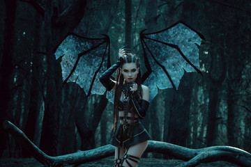 Girl vampire, a demon with bat wings, a succubus,through the dark forest girl walking a bat with huge wings and sexy outfit,fashionable toning,creative computer colors