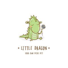 Cartoon cute dragon  logo. Vector image.