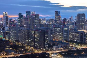 東京 霞が関と高層ビル群