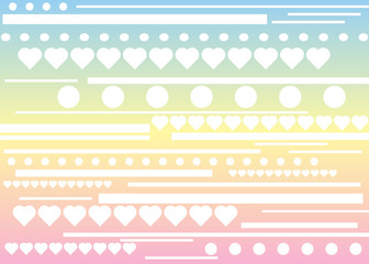 Stripes, hearts and circle pattern
