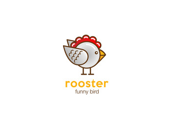 Funny Rooster Chicken bird Logo vector cartoon linear style