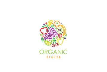 Healthy Organic eco vegetarian food Logo fresh farm fruits
