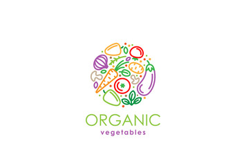 Healthy Organic eco vegetarian food Logo fresh farm vegetables