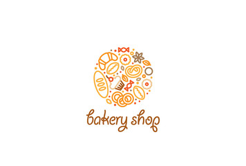 Bakery shop Logo design vector linear style