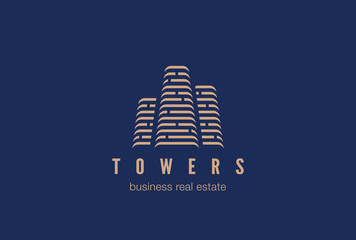 Real Estate Construction Logo design. Skyscrapers buildings