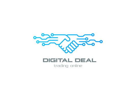 Digital Deal Online Contract Handshake Logo design vector linear