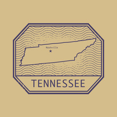 Stamp with the name and map of Tennessee, United States