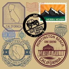 Stamp set with the name and map of California, United States