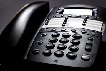 Business Telephone on a Black Background