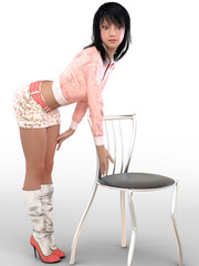 3D render of woman with chair