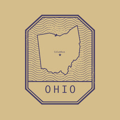 Stamp with the name and map of Ohio, United States