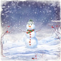 Illustration of snowman, on a background of snow and snowflakes