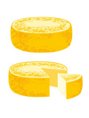 Set of cheese wheels isolated on a white background. Vector illustration.