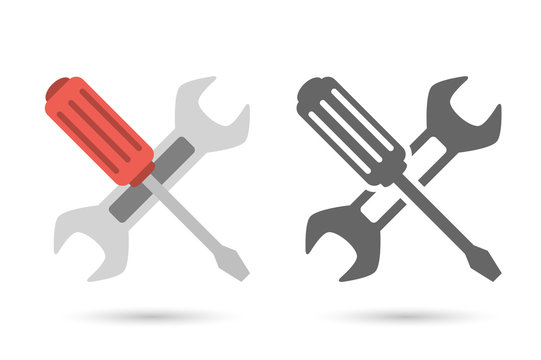 Repair icon. Wrench and screwdriver
