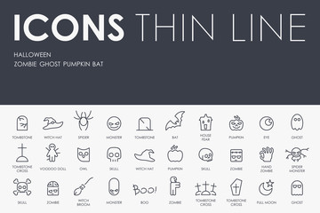 Halloween Thin Line Icons