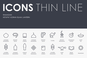 Ramadan Thin Line Icons