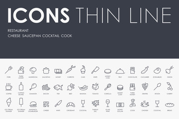 restaurant Thin Line Icons
