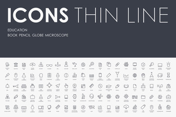 education Thin Line Icons