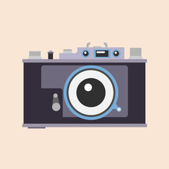 Photo camera. Flat design. Vector
